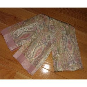 Accessories - Vintage Silk Pink Patterned Scarf